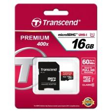 Карта памяти Transcend 16GB microSDHC C10 UHS-I R60MB/s + SD адаптер