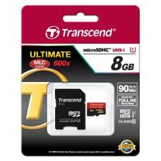 Карта памяти Transcend 8GB microSDHC C10 UHS-I R90MB/s + SD адаптер