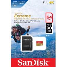 Карта памяти SanDisk 64GB microSDXC C10 UHS-I R90/W40MB/s 4K Extreme Action + SD