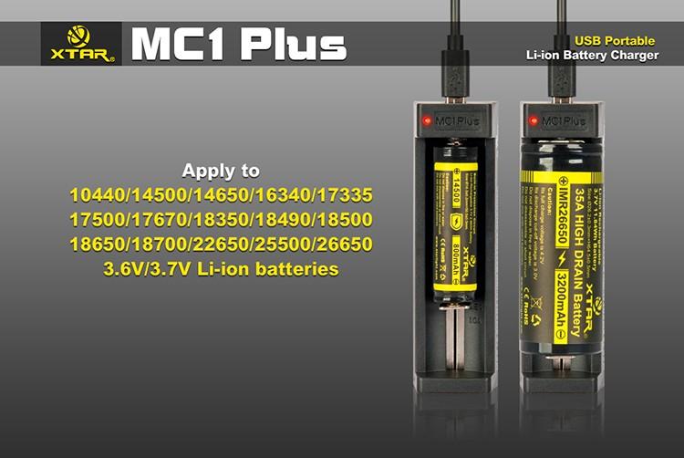 Заряжаемые аккумуляторы в Xtar MC1 Plus